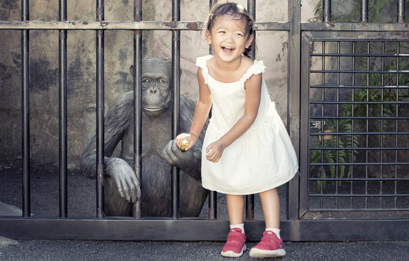 Picture Girl, monkey, banana, funny, children, kid, emotions, other, naugty child