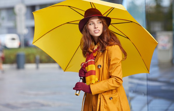 Picture pose, yellow, portrait, hat, umbrella, makeup, scarf, hairstyle, gloves, brown hair, beauty, is, cloak, keeps, ...