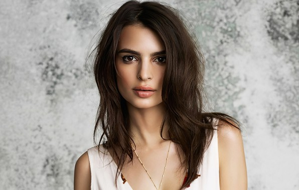Picture look, girl, face, model, portrait, makeup, beauty, chain, Emily Ratajkowski