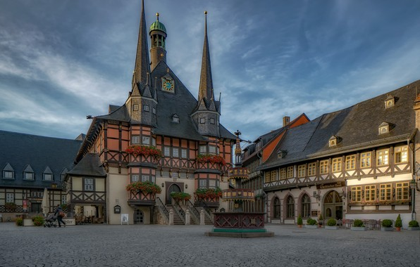 Picture building, home, Germany, area, fountain, Germany, town hall, Saxony-Anhalt, Wernigerode, Wernigerode, Saxony-Anhalt