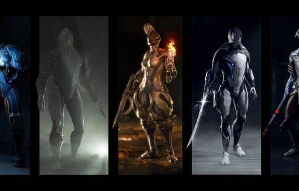 Picture weapons, costume, Volt, ash, game, warriors, volt, warframe, suits, Amber, excalibur, Excalibur, ember, voban, Vauban