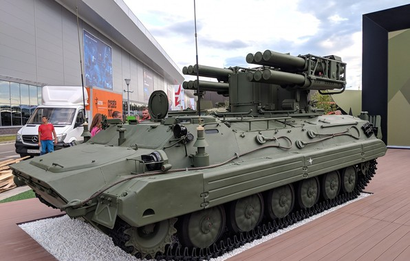 """Picture exhibition of arms, Russian air defense, Forum «ARMY 2018», Anti - aircraft missile system, """"Pine"""""""