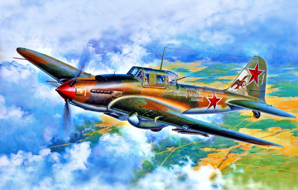 Picture USSR, double, The second World war, Attack, 2х23 mm VYA cannon, 1х12.7mm UBT, Il-2КСС, (Il-2M3), ...