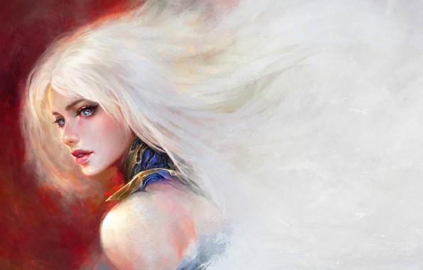 Picture face, blue eyes, shoulder, art, portrait of a girl, sideways, Daniel Kamarudin, long white hair