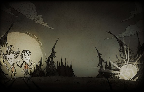 Picture forest, the sky, clouds, the moon, ate, b/W, survival, Wilson, together, Wilson, Willow, don't starve, …