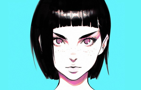 Picture look, haircut, eyebrows, freckles, black hair, blue background, bangs, portrait of a girl, Ilya Kuvshinov