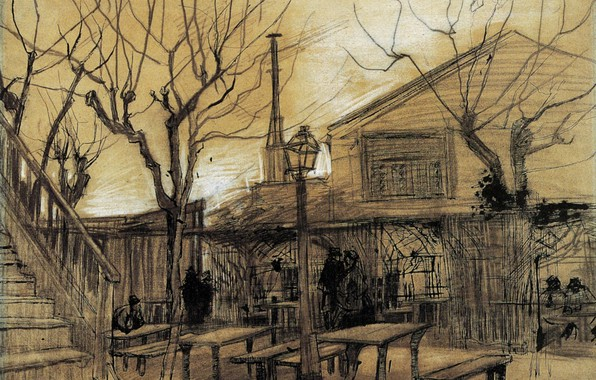 Picture tables, ladder, lantern, benches, Vincent van Gogh, A Guinguette, Ladi