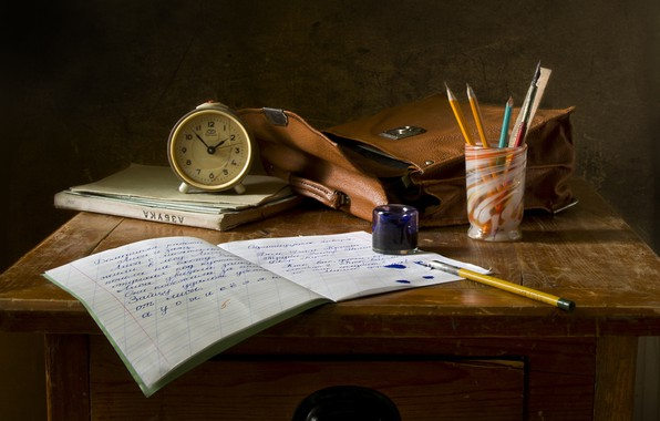 Picture letter, glass, style, retro, letters, table, background, pen, past, study, watch, feathers, pencils, book, blots, …