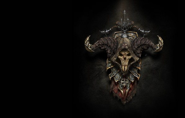 Picture weapons, the game, skull, spider, fantasy, art, horns, shield, coat of arms, crossbow, diablo 3 …
