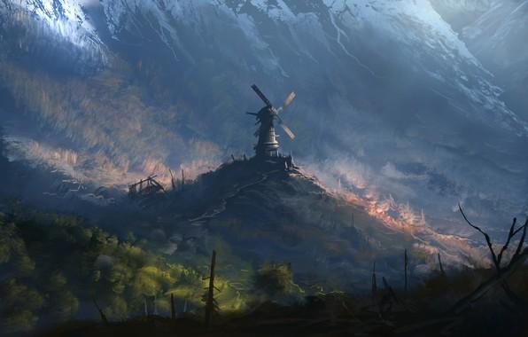 Picture Mountains, Mill, Forest, Fantasy, Landscape, Art, Art, Windmill, Denis Loebner, by Denis Loebner, Forgotten windmill, …