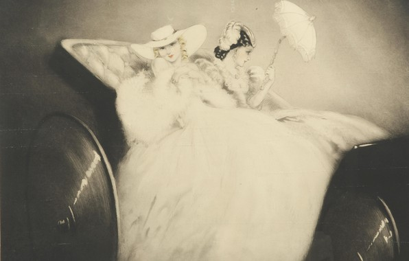 Picture 1938, Louis Icart, On the Champs Elysees