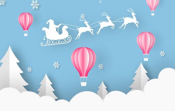 Picture winter, new year, Blue, Paper, Cloud, Snowflakes, Santa, Santa Claus