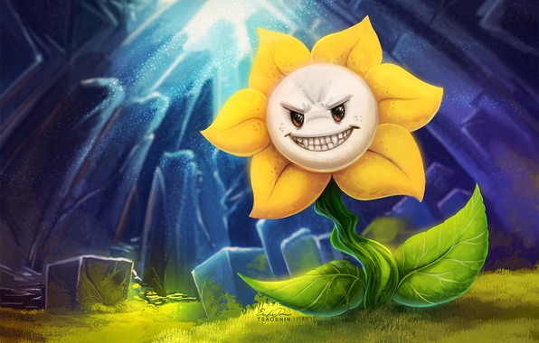 Photo wallpaper flower, being, predatory, Undertale, Undertail
