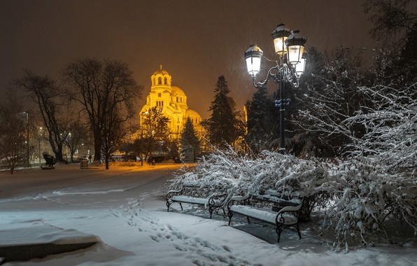 Picture winter, snow, traces, the city, the evening, lighting, lights, Cathedral, benches, square, Bulgaria, Sofia, Александр …