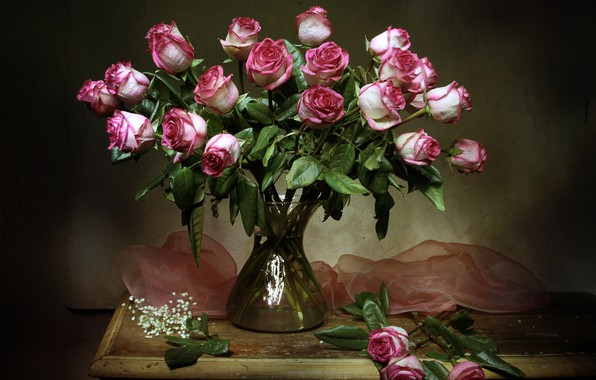 Picture flowers, table, roses, vase, still life, tulle