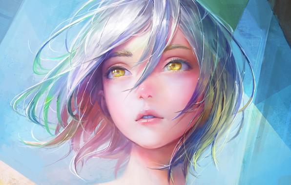 Picture Girl, art, short hair, lips, face, digital art, artwork, mouth, hazel eyes, blue hair