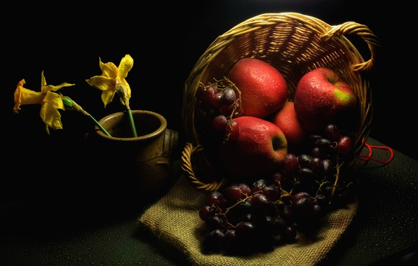 Picture drops, flowers, darkness, table, apples, grapes, red, pot, fruit, twilight, black background, still life, basket, …