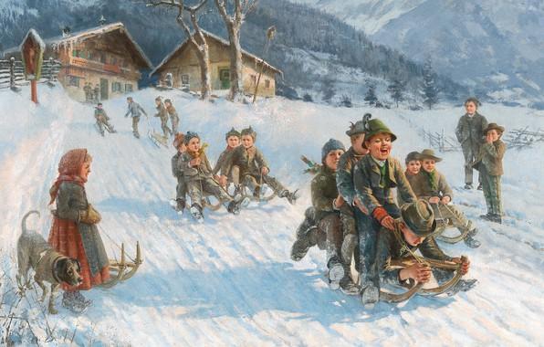 Picture German painter, German painter, oil on canvas, Fun Sleigh Ride, Funny sleigh ride, Toboggan fun …