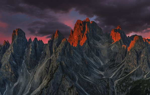 Picture the sky, mountains, clouds, nature, rocks, dawn, morning, Italy, The Dolomites, Edie Adams
