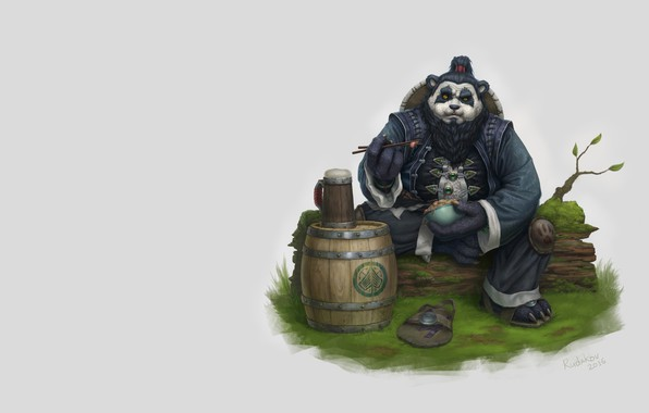 Picture stay, warrior, fantasy, art, Panda, mug, barrel, Chen, Eugene Rudakov