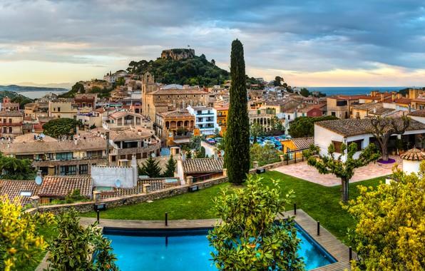 Picture sea, the sky, clouds, trees, landscape, coast, home, pool, horizon, Spain, Catalonia, Begur