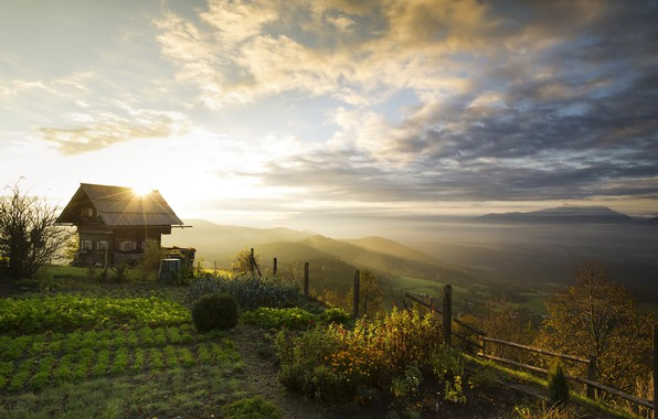 Picture the sky, the sun, clouds, trees, mountains, dawn, the fence, field, Austria, panorama, house, the …