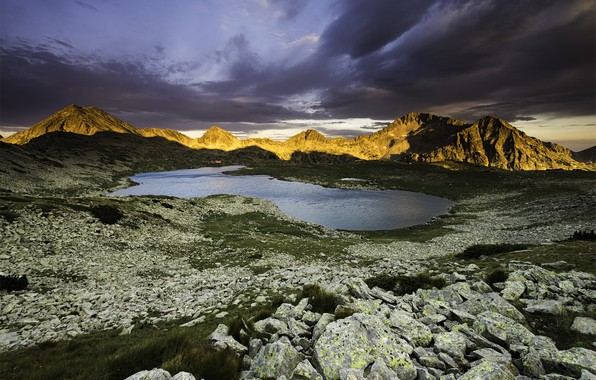 Picture landscape, mountains, clouds, nature, lake, stones, Bulgaria, Tevno, Tevno