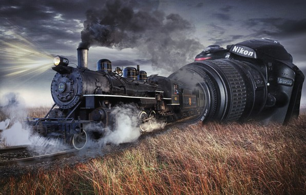 Picture the steppe, rendering, collage, smoke, the engine, railroad, the camera, photo manipulation