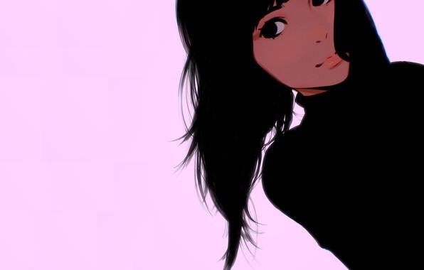 Picture face, black hair, pink background, moles, portrait of a girl, Ilya Kuvshinov