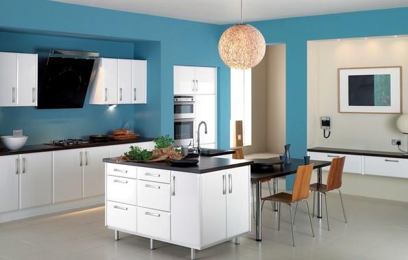 Picture design, blue, chairs, interior, refrigerator, kitchen, plate, chandelier, hood