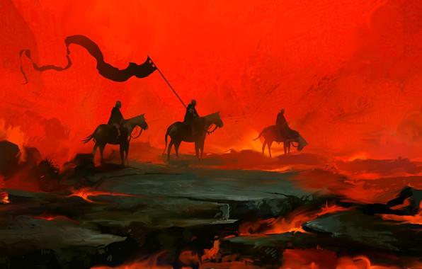 Picture Red, Knights, Fantasy, Art, Knight, War, Concept Art, Dominik Mayer, by Dominik Mayer, 30 min …