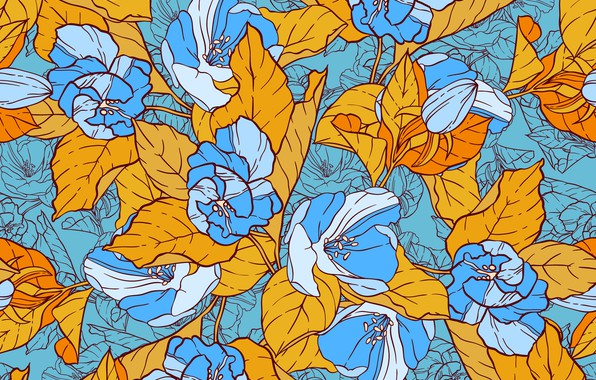 Picture flowers, yellow, blue, Vintage, Template, Floral