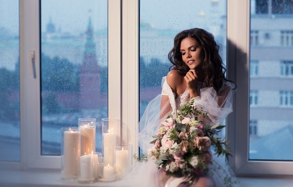 Picture girl, flowers, pose, style, mood, bouquet, candles, window, the bride, Natalia Magicka