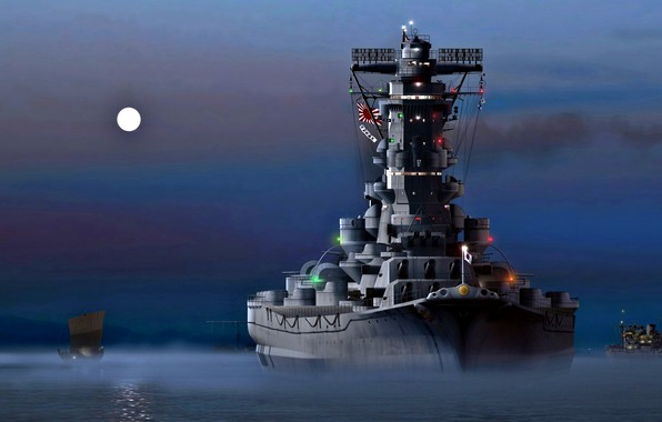 """Picture Night, The moon, The Imperial Japanese Navy, Battleship, The Empire Of Japan, """"Yamato"""""""