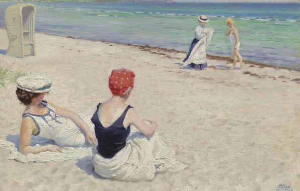 Picture Danish painter, On the beach, Danish painter, Paul Gustav Fischer, Paul Gustav Fischer, oil on …