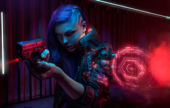Picture Girl, The game, Art, Cyborg, CD Projekt RED, Cyberpunk 2077, Cyberpunk, Cyberpunk, Cyberpunk 2077, 2077, …