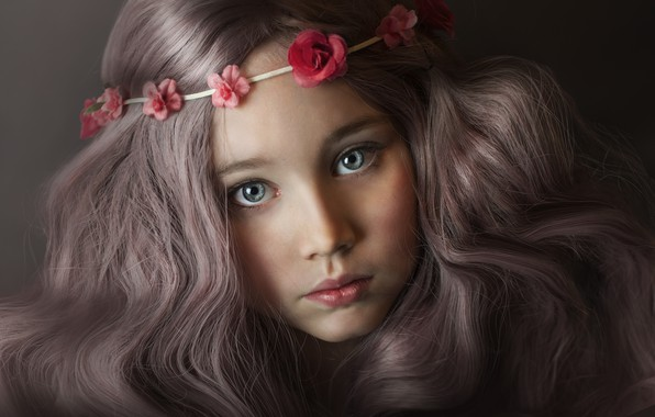 Picture eyes, look, flowers, close-up, face, the dark background, hair, child, portrait, blue, girl, brown hair, …