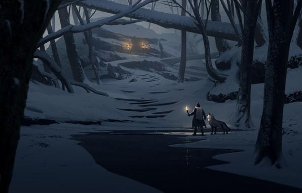 Picture light, fantasy, trees, night, winter, snow, man, animal, wolf, digital art, artwork, wizard, fantasy art, …