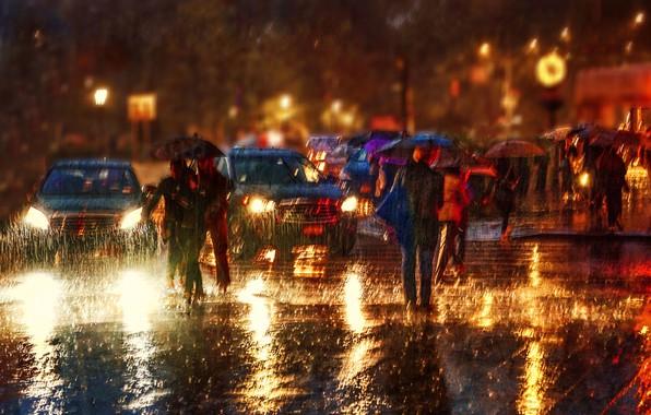 Picture machine, city, the city, people, rain, rain, cars, people, Anette Ohlendorf