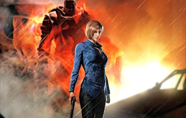 Picture rendering, fire, capcom, jill valentine, nemesis, Resident Evil 3