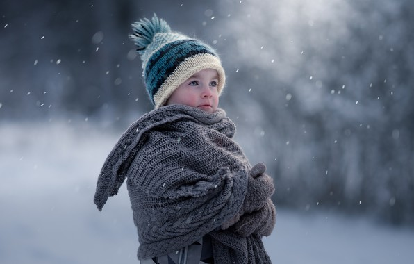 Picture winter, baby, bokeh