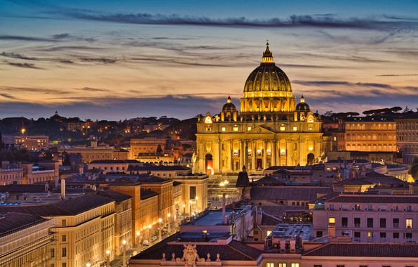 Picture building, home, Rome, Italy, Church, Cathedral, night city, Italy, Rome, The Vatican, St. Peter's Cathedral, …