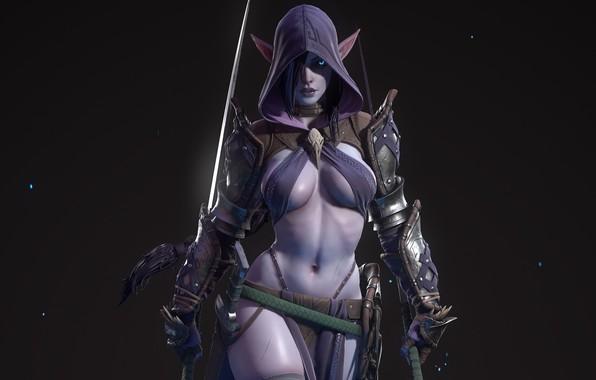 Picture girl, weapons, hood, swords, equipment, dark elf