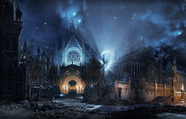 Picture night, darkness, mystic, Dark Souls III, dark world, готический фон, мрачный храм