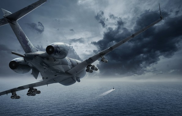 Picture sea, clouds, the plane, weapons, anti-submarine, You CAN, Swordfish, submarine
