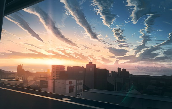Picture sunset, the city, the view from the window