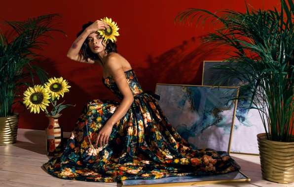 Picture girl, sunflowers, flowers, pose, style, dress, pictures, Julia Star, Nu Panda