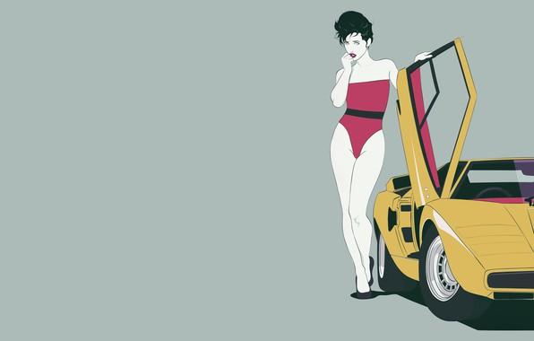 Picture Girl, Lamborghini, Retro, Art, 80s, Countach, Lamborghini Countach, LP400, Transport & Vehicles, Mikhail Solovarov, by …