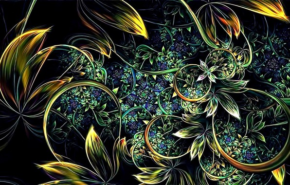 Picture leaves, flowers, abstraction, rendering, background, stems, Wallpaper, curves, picture, screensaver on your desktop, fractal picture, …