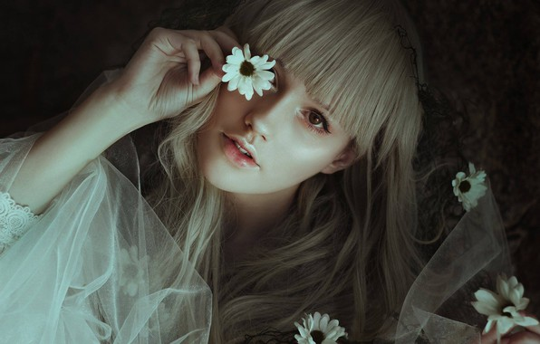 Photo wallpaper look, girl, flowers, face, mood, hair, hand, bangs, Joana Kretzer Brandenburg, by Leda Lacintra
